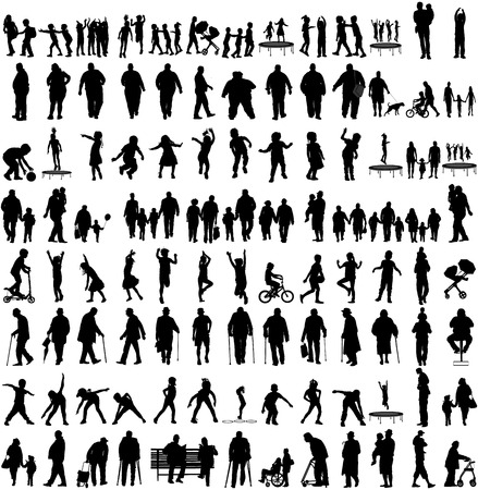 Big set of people silhouettes, children,parents,seniors, .Family groups, couples vector silhouette illustration isolated on white background. Fathers day. Fat persons. Older people, health care group.