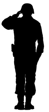 Saluting army soldier's silhouette vector isolated on white background. (Memorial day, Veteran's day, 4th of july, Independence day) 일러스트