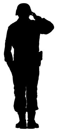 白い背景に分離されて陸軍兵士のシルエット ベクトルを敬礼します。(記念日、退役軍人の日、独立記念日 7 月 4 日)