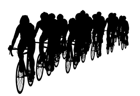 bicycler: Group of bicyclists in race riding a bicycle isolated against white background silhouette vector illustration. Sport tourist company friends on bicycles . Silhouette people, mountain bike. Friendship.