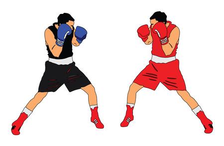 Zwei Boxer in der Ringvektorillustration auf weißem Hintergrund. Vektorgrafik
