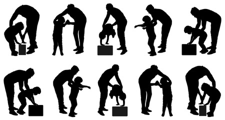 polyclinic: Physiotherapist and kid, boy exercising in rehabilitation center, vector silhouette illustration isolated. Doctor supports the child during physiotherapy treatment. holding hands making first steps. Illustration