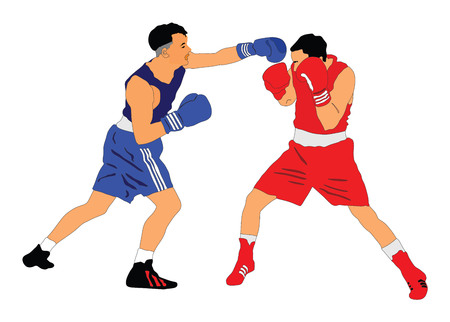 Two boxers in ring vector illustration on white background.