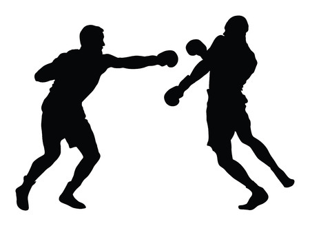 Two boxers in ring vector silhouette illustration on white background. Çizim