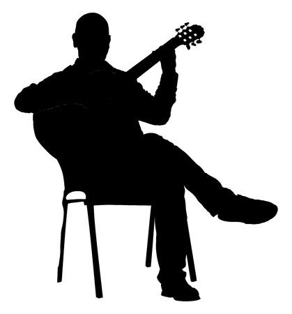 Music man sitting on the chair with guitar. Guitarist vector silhouette illustration., guitar player.
