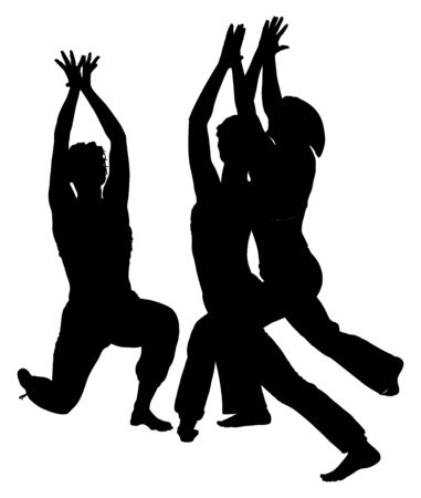Girls practicing yoga, vector silhouette illustration isolated on white background.