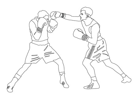 kickboxing: Two boxers fighting in ring vector silhouette illustration isolated on white background.