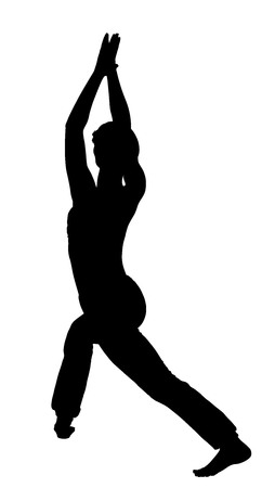 mantra: Young woman in yoga pose vector silhouette illustration isolated on white background. Candle pose standing. Young woman exercises yoga. Zen, mantra, wellness. Illustration