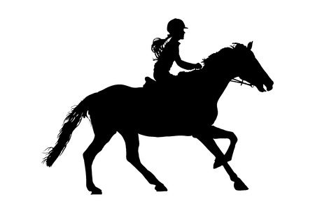 Prance horse black silhouette, vector illustration isolated on white background. Beautiful girl polo player in horse race.