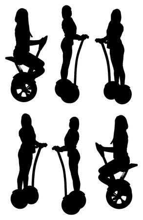 Tourist group having guided segway city tour vector silhouette illustration. Çizim