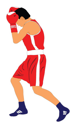Boxer in ring vector illustration isolated on white background