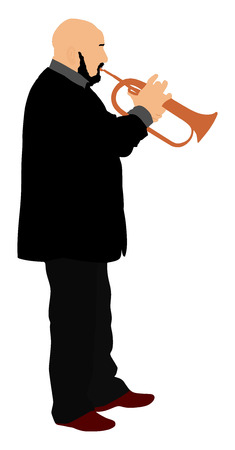 blacks: Man with trumpet on stage vector isolated on white background. Music man. Illustration