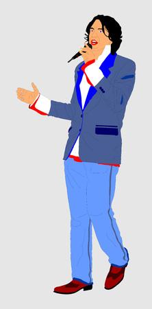 Street artist singer vector illustration isolated on background. Popular singer super star vector illustration isolated on white background. Attractive music artist on the stage. Singer man artist against public on concert. Illustration