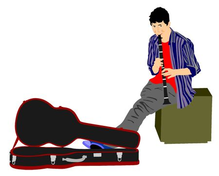 Street artist musician boy playing on the clarinet, vector illustration. Street music performer with flute, clarinet isolated on white background. Flutist concert for public. Illustration
