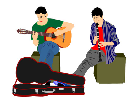 Street performers with guitar and flute, clarinet vector illustration on white background.