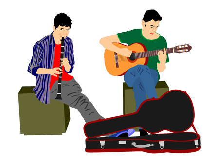 clarinete: Street performers with guitar and flute, clarinet vector illustration isolated on white background. Guitar playar, and flutist.