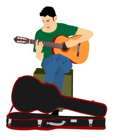 Street music performer with guitar vector illustration isolated on white background. Guitar player. Musician amusement people on the street. art sound.