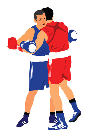 Two boxers in ring vector illustration isolated on white background.