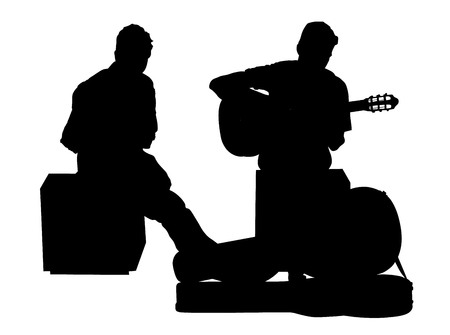 duet: Street performers with guitar and flute, clarinet vector silhouette illustration isolated on white background. Guitar playar, and flutist. Illustration