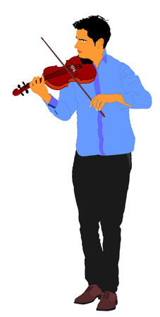 Young man playing violin isolated on white background.