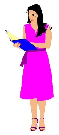Show host woman speaking on the microphone vector illustration. Head announces present event. Announcement of the program. Illustration