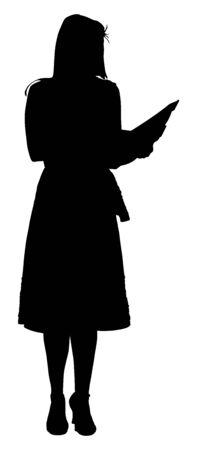 Pokaż hosta kobieta mówiąca sylwetka wektor. mówca publiczny Szef zapowiada obecne wydarzenie. Ogłoszenie programu. Mistrz ceremonii w showbiznesie prezenter