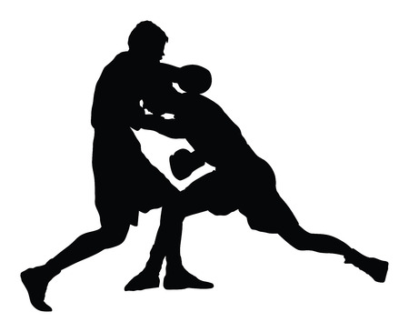 kickboxing: Two boxers in ring vector silhouette illustration isolated on white background.