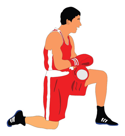 Boxer in ring vector illustration isolated on white background. Knockout situation.  Judge counts boxer. Illustration