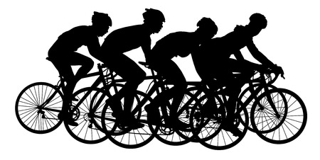 bicycler: Group of bicyclists in race riding a bicycle isolated against white background silhouette vector illustration. Sport tourist company friends on bicycles . Silhouette people, mountainbike. Friendship.