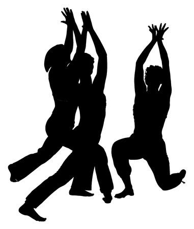 zenlike: Girls practicing yoga, vector silhouette illustration isolated on white background.