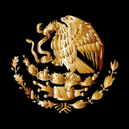 correctly: Mexico coat of arms, seal, national emblem, isolated on black background. Vector Coat of arms of Mexico gold silhouette illustration. Original and simple Mexico coat of arms Proportion Correctly.