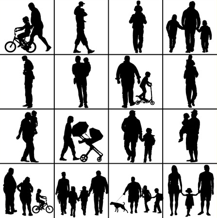mather: Fathers day set, group of family people vector silhouette illustration isolated on white background. Illustration