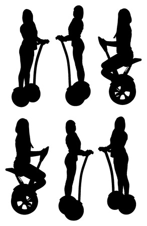 segway: Tourist group having guided segway city tour vector silhouette illustration. Illustration