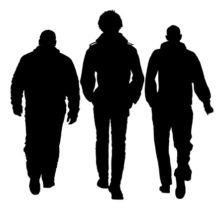 three friends: Three young friends talking and walking together, vector silhouette illustration isolated. walking in the park