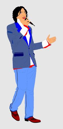 rockabilly: Street artist singer vector illustration isolated on background. Illustration