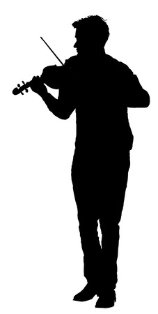 fiddlestick: Young man playing violin vector silhouette isolated on white background. Illustration