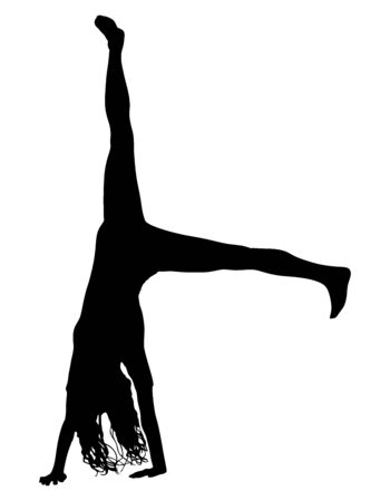 Young girl doing cartwheel exercise. Sport woman in handstand position vector silhouette illustration. Standing on hand pose. Hand stand acrobatics, urban street performer. Circus stunt exercising,