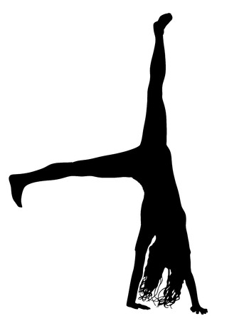 Sporty beautiful blond young woman in sportswear working out indoors, doing handstand, vector silhouette illustration isolated on white background. Yoga, pilates, fitness training, asana. Long hair.