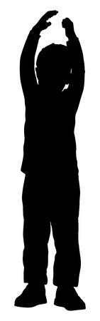little girl feet: Happy joyful kid, little boy doing exercises , vector silhouette illustration isolated on white background. Illustration