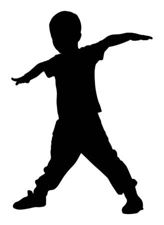 Happy joyful kid, little boy doing exercises vector silhouette isolated on white background. Funny boy playing plane game. Spread hands flying symbol widespread hands open. Smiling child enjoy workout Illustration