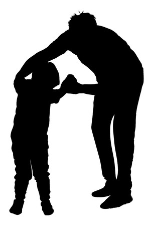 polyclinic: Physiotherapist and boy exercising in rehabilitation center, vector silhouette illustration isolated. Doctor supports the child during physiotherapy treatment. holding hands making first steps