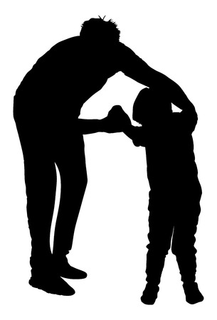 Physiotherapist and kid, boy exercising in rehabilitation center, vector silhouette illustration isolated. Doctor supports the child during physiotherapy treatment. holding hands making first steps. Illustration