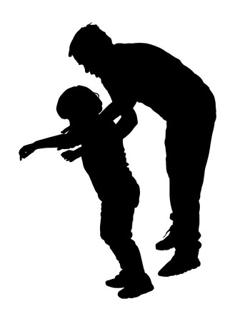 physiotherapist: Physiotherapist and kid, boy exercising in rehabilitation center, vector silhouette illustration isolated. Doctor supports the child during physiotherapy treatment. holding hands making first steps. Illustration