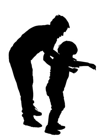 physiotherapist: Physiotherapist and boy exercising in rehabilitation center, vector silhouette illustration isolated. Doctor supports the child during physiotherapy treatment. holding hands making first steps