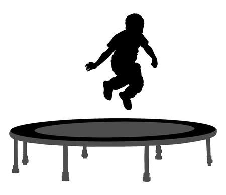Child silhouette jumping on garden trampoline, vector illustration.