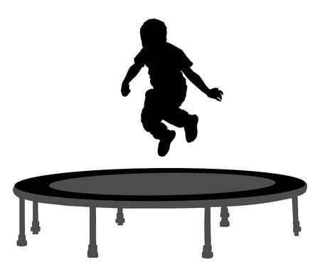 little girl feet: Child silhouette jumping on garden trampoline vector illustration. Happy boy jumping on trampoline. Illustration
