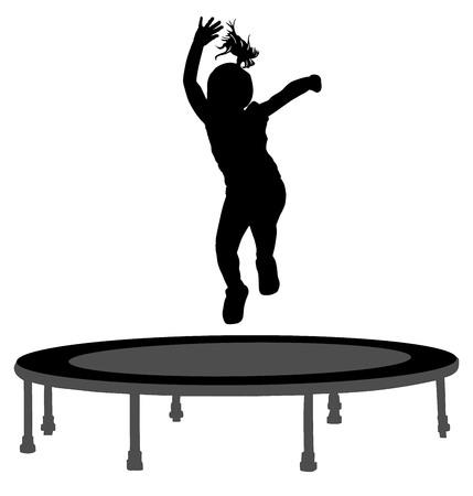 Silhouette del bambino che salta sul trampolino del giardino, illustrazione vettoriale. Ragazza felice che salta sul trampolino.