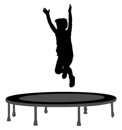 子シルエット庭のトランポリンのベクトル図にジャンプします。トランポリンでジャンプ幸せな少年。 写真素材 - 61491448