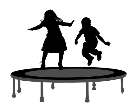 Children silhouettes jumping on garden trampoline vector illustration. Happy girl and boy jumping on trampoline.
