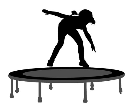 trampoline: Child silhouette jumping on garden trampoline vector illustration. Happy girl jumping on trampoline.